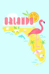 Orlando, Florida - Flamingo and State - Contour - Lantern Press Artwork