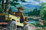 Yellowstone, Montana - Smokey Bear in Truck - Vintage Artwork