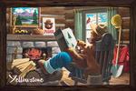 Yellowstone, Montana - Smokey Bear - Reading in Cabin - Vintage Artwork