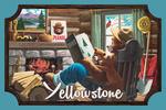 Yellowstone, Montana - Smokey Bear Reading - Contour - Vintage Artwork