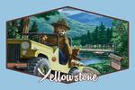 Yellowstone, Montana - Smokey Bear in Truck - Contour - Vintage Artwork