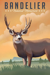 Bandelier National Monument, New Mexico - Mule Deer - Litho - Lantern Press Artwork