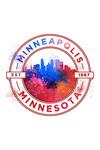 Minneapolis, Minnesota - Vibrant Watercolor - Badge Contour - Lantern Press Artwork