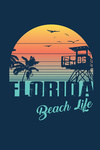 Florida- Sunset Stripes - Palm & Lifeguard Booth - Contour - Lantern Press Artwork