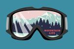 Ski Goggles - Mountain Life - Contour - Lantern Press Artwork