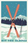Hit the Slopes - Crossed Skis - Letterpress - Lantern Press Artwork