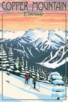Copper Mountain, Colorado - Winter Skiers - Lantern Press Artwork