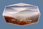 Blue Ridge Parkway - Autumn Fog Over Hills - Contour - Lantern Press Photography