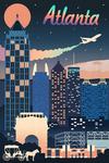 Atlanta, Georgia - Retro Skyline Chromatic Series - Lantern Press Artwork