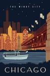 Chicago, Illinois - Vector - Ferry & Skyline Across Water - Lantern Press Artwork