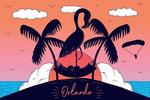 Orlando, Florida - Flamingo & Island - Beach Scene - Lantern Press Artwork