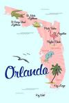 Orlando, Florida - Typography & Icons - Pink & Blue - Lantern Press Artwork