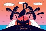 Tampa, Florida - Flamingo & Island - Beach Scene - Lantern Press Artwork