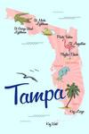 Tampa, Florida - Typography & Icons - Pink & Blue - Lantern Press Artwork
