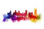 Buffalo, New York - Skyline Abstract - Lantern Press Artwork