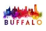 Buffalo, New York - Skyline Abstract - Large Letters - Lantern Press Artwork