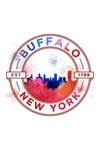 Buffalo, New York - Skyline Abstract - Est 1789 - Lantern Press Artwork