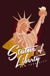 New York City, New York - Statue of Liberty - Vintage Landmark Stamp - Contour - Lantern Press Artwork