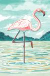 Graphic Pastel - Flamingo - Lantern Press Artwork