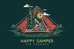 Poconos, Pennsylvania - Happy Camper - Tent - Distressed Vector Shape - Lantern Press Artwork