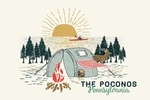 Poconos, Pennsylvania - Happy Camper - Tent - Distressed Vector Shape - Contour - Lantern Press Artwork
