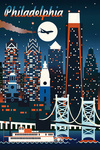 Philadelphia - Retro Skyline Chromatic Series - Lantern Press Artwork