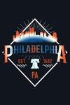Philadelphia - Retro Skyline - Contour - Lantern Press Artwork