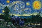 Poconos, Pennsylvania - Starry Night - Bear & Cub - Lantern Press Artwork