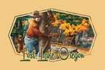 Lost Lake, Oregon - Smokey Hugging Tree - Contour - Lantern Press Artwork