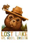 Lost Lake, Oregon - Smokey Bear & Squirrel - Contour - Lantern Press Artwork