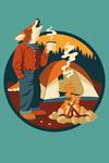 Camping Coyote - Contour - Lantern Press Artwork