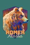 Homer, Alaska - Grizzly - Vivid - Contour - Lantern Press Artwork