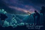 Grand Canyon National Park - Night Sky Viewing - Textured Watercolor - Lantern Press Artwork