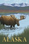 Alaska - Moose in Water - Lantern Press Artwork