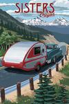 Sisters, Oregon - Retro Camper on Road - Lantern Press Artwork