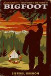 Sisters, Oregon - Home of Bigfoot - Mountains - Lantern Press Artwork