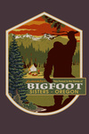 Sisters, Oregon - Home of Bigfoot - Mountains - Contour - Lantern Press Artwork