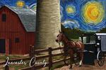 Lancaster County, Pennsylvania - Farm Scene - Starry Night - Lantern Press Artwork