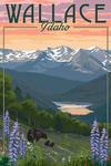 Wallace, Idaho - Bear & Spring Flowers - Lantern Press Artwork