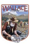 Wallace, Idaho - Gold Panner - Contour - Lantern Press Artwork