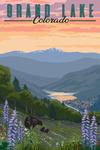 Grand Lake, Colorado - Bear & Spring Flowers - Lantern Press Artwork