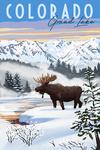 Grand Lake, Colorado - Moose - Winter Scene - Lantern Press Artwork