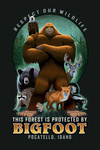 Pocatello, Idaho - This Forest is Protected by Bigfoot - Contour - Lantern Press Artwork
