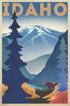 Idaho - Moose & Mountain - Lithograph - Lantern Press Artwork