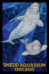 Chicago, Illinois - Shedd Aquarium - Beluga - Mosaic - Lantern Press Artwork