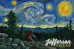 Jefferson, Texas - Bigfoot Starry Night - Lantern Press Artwork