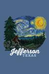 Jefferson, Texas - Bigfoot Starry Night - Contour - Lantern Press Artwork