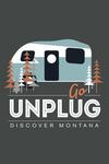 Go Unplug (Camper) - Discover Montana - Vector Style - Contour - Lantern Press Artwork