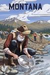 Montana - Gold Panner Mining Camp - Lantern Press Artwork