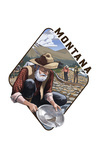 Montana - Gold Panner & Mining Camp - Contour - Lantern Press Artwork
